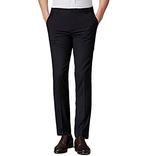 Danncool スラックス メンズ ビジネス 通勤 スリムパンツ ウォッシャブル ロングパンツ ノータック ストレート 高品質 美脚 薄手 ブラック 30