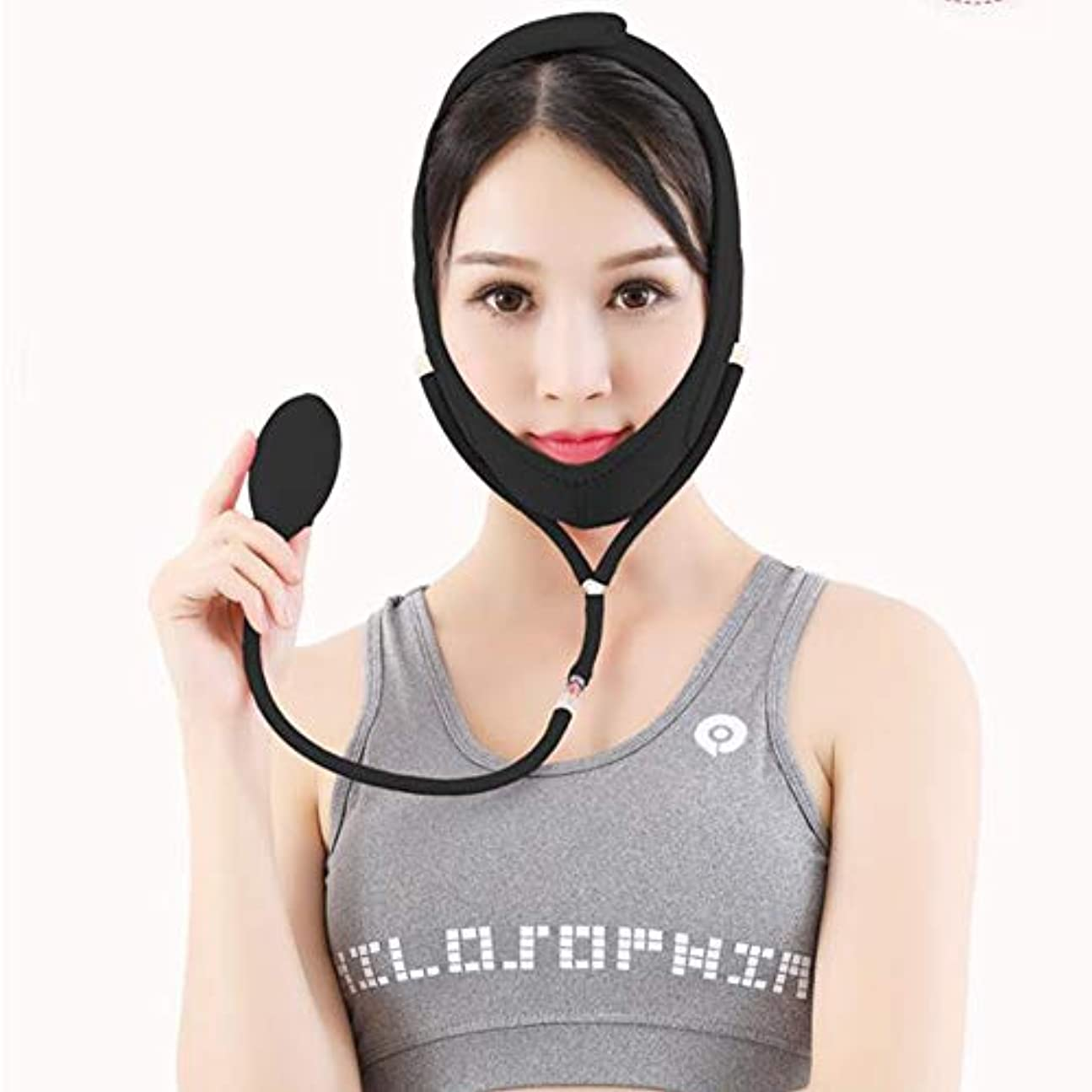 巻き戻す近所の起きるBS フェイシャルリフティング痩身ベルトダブルエアバッグ圧力調整フェイス包帯マスク整形マスクが顔を引き締める フェイスリフティングアーティファクト (Color : Black, Size : M)