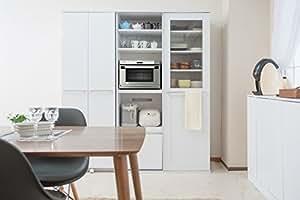オリジナル 引戸キッチンレンジボード 食器棚 105幅 引き戸 家電収納 (ホワイト)
