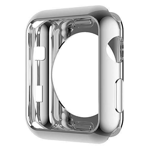 Apple Watch ケース 42mm 銀 メッキ Series 1 2 3 TPU 通用形 柔軟 カバー耐衝撃性 超簿 脱着簡単 傷付 保...