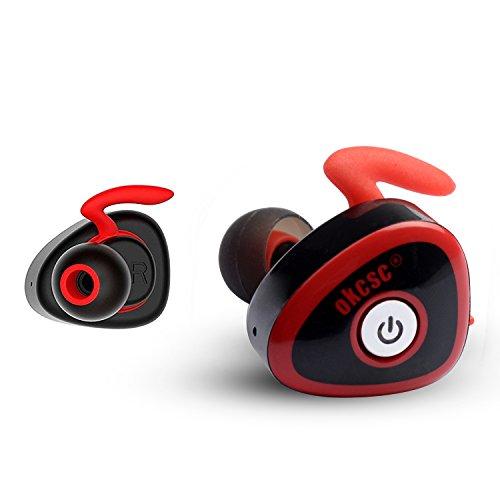 OKCSC HC-362 TWS Bluetooth イヤホン ワイヤレスイヤホン ミニ スポーツヘッドセット 両耳 V4.1 iPhone7に対応 マイク付き (レッド)