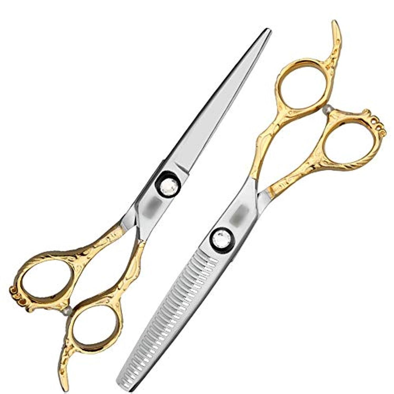 三角形胆嚢馬力理髪用はさみ 6インチ美容院プロの理髪セットハイエンド理髪はさみ、プロのカスタムフラットはさみ+歯はさみヘアカットはさみステンレス理髪はさみ (色 : ゴールド)