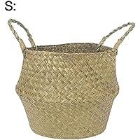 Xixi-colk 保管バスケット 収納バケツ 洗濯バスケット 天然草の調製 おもちゃバケツ 家庭用品 収納バスケット おもちゃ 衣類 収納