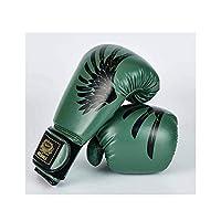 LBLMS ボクシンググローブ、大人の男性と女性の職業訓練ボクシンググローブ、手作り、天然ラテックスライナー使い捨て成形(ハンドベルトを送信) (Color : Green, Size : 12oz)