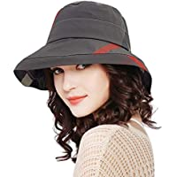DOCILA Waterproof Bucket Hats for Women Foldable Outdoor Plaid Fisherman Sun Cap with Chin Strap