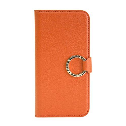 [CASEBANK] リング付き 手帳 ケース iPhone6/6s 4.7インチ 落下防止 実用新案取得済 スマホ カバー (オレンジ) Y-RING-01-Orange