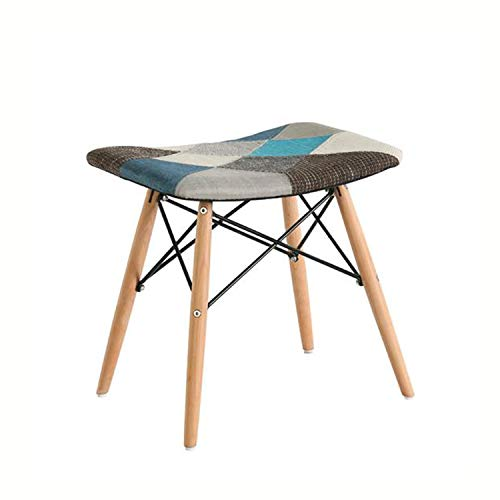パッチワーク腰掛け 優雅木製の脚 北欧スタイル ダイニング腰掛け 机腰掛け ドレッシング腰掛け (クールカラー)