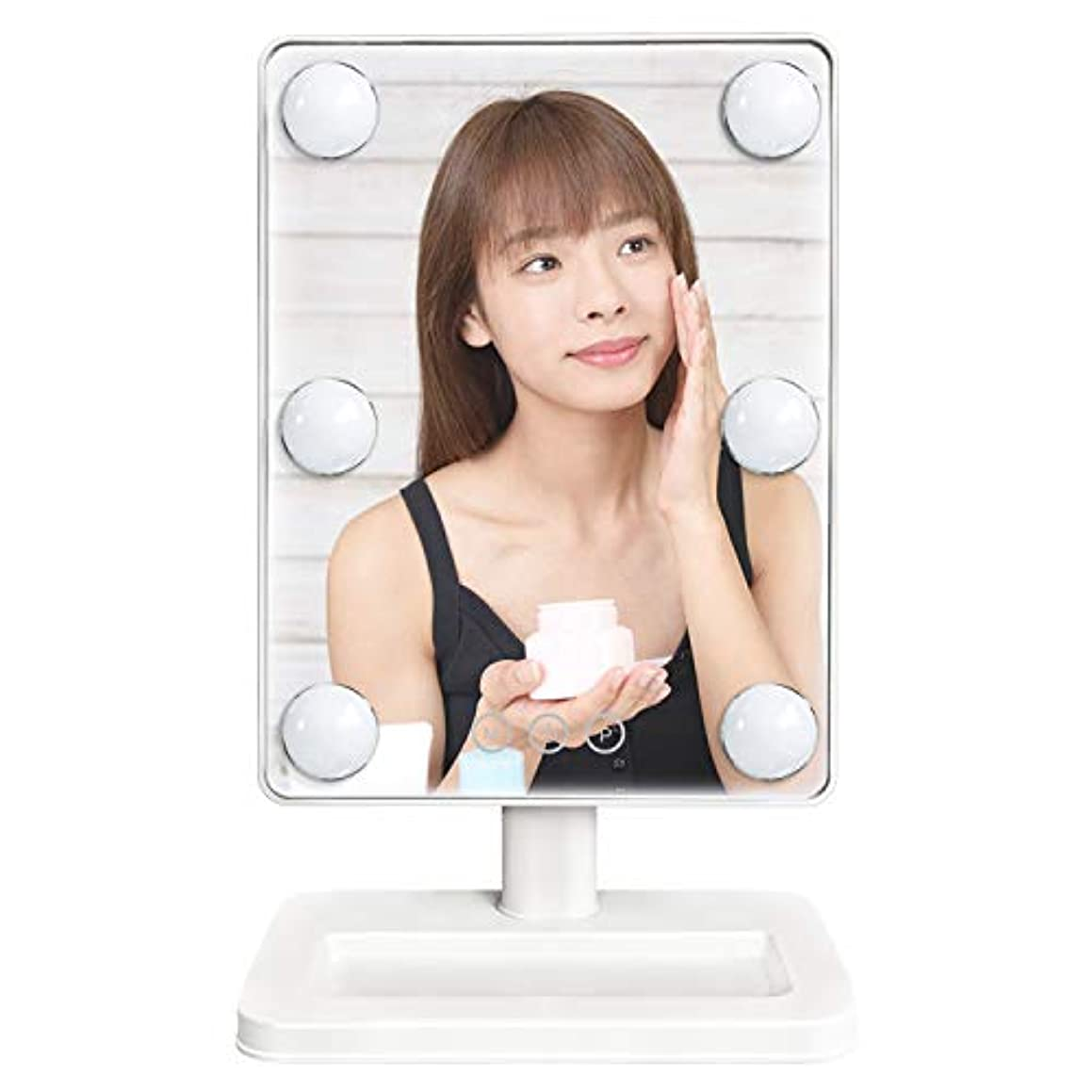 酸小川示す鏡 スタンドミラー 卓上ミラー led付き 女優ミラー 明るさ調節可能 電球が6個 化粧鏡 360°回転 3色調光ハリウッドミラー 電池&USB 2WAY給電 Luuhann (ホワイト)
