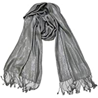 Soft & Lightweight Women's Trendy Metallic Silver Color With Tassels- Party Viscose Scarf/Stole for All Seasons