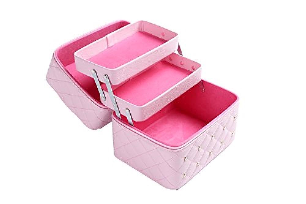 麦の畑の印象のコスメボックス メイクケース 収纳ケース ネイリストバッグ ポケットサイズ 多层 化粧品の収纳ケース 両開きファスナー 大容量 (ピンク)