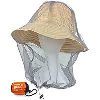 【trentiva] 虫除け防虫ネット 収納サック付き 帽子の上から被るタイプ 紫外線対策 園芸 農作業 釣り ハイキング アウトドア ガーデニング