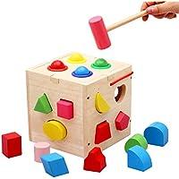 ベビーおもちゃ、子供の教育玩具、脳を発達させる 幼児の少年のための子供の初期の教育おもちゃと対にされた17の穴ノッキングボール形状少女時代2 +