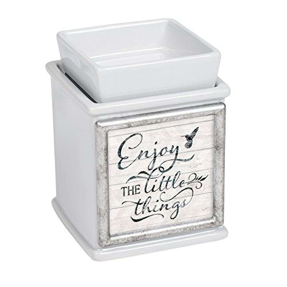 ブリリアントカウンターパートゼリーEnjoy the little thingsセラミックスレートグレーInterchangeable印刷キャンドルワックス、Oil Warmer