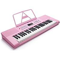 電子ピアノ  49鍵 セット LCDディスプレイ マイク付き   VGK4900 ピンク