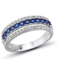 925 Sterling Silver CZ Sapphire Color Rings Blue Nano Cubic Zirconia Stones
