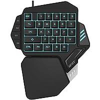 NPET ゲーミングキーボード 片手 メンブレン式 8色 LEDバックライト 左手用キーパッド 33キー USB カスタマイズ可能 2年間品質保証 T10