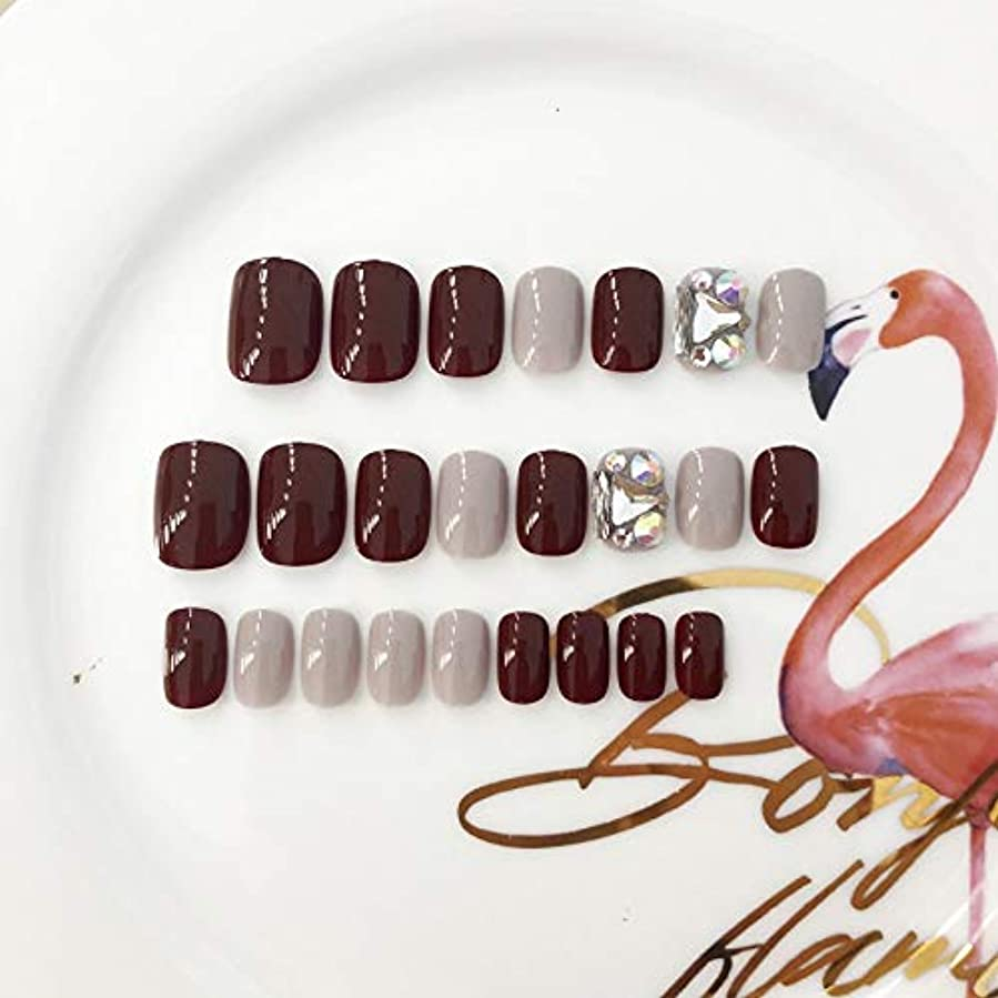 ラジエーター十優先権XUANHU HOME 偽爪24個12サイズ赤とダイヤモンド赤の正方形の短い偽の爪
