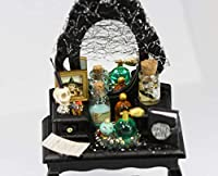 Dollhouse Miniature Halloween Decorated Black Vanity with Stool