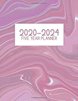 "2020-2024 Five Year Planner: Jan 2020-Dec 2024, 5 Year Planner, grey pink marbled igital paper cover, featuring 2020-2024 Overview, daily, weekly, monthly view,  areas for: to do list, reminders, and goals. 8.5"" X 11"" sized."