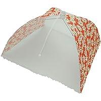 折りたたみ 式 食卓 フード カバー ホコリ 虫よけ キッチン パラソル 傘 (オレンジ フラワー 36x36x23)