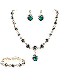 Clearine Women's Fashion Wedding Bride Crystal Infinity Figure 8 Y-Necklace Bracelet Dangle Earrings Set