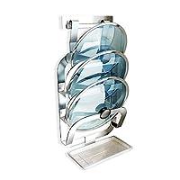 フライパンラック リムーバブルドレンパンのためにキッチンストレージで穿孔蓋ストレージラック 鍋の整理に最適 (色 : Silver, Size : 22.8×12.7×46.8cm)