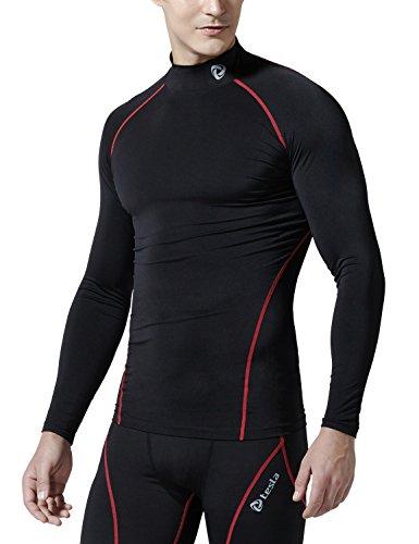 (テスラ)TESLA 長袖ハイネック スポーツシャツ [UVカット・吸汗速乾] コンプレッションウェア パワーストレッチ アンダーウェア【ランニング・サイクリング・トレ-ニング・サッカー・スキー・スノーボード・サーフィン・ ゴルフウェア】 T11-BKRZ-L