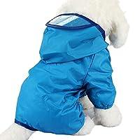 小型中型犬用大型犬レインコート子犬後背位ジャンプスーツパーカージャケット猫、濡れたり汚れたりすることからあなたのペットを保護する YANW (色 : 青, サイズ さいず : M m)