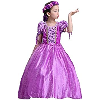 52d015e7a75db 子供 塔の上のラプンツェル ラプンツェル プリンセスドレス コスチューム ドレス アームカバー 花カンムリ 3点セット ハロウィン (130)