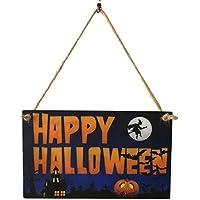 BESTOYARD HAPPY HALLOWEEN ハロウィンの木のシーンのパターンは、屋内の屋外装飾のためのボードのドアの壁の看板をぶら下げ