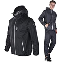 [Dripx] サウナスーツ 大量発汗 燃焼サポート フード付き 上下セット メンズ