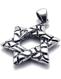 [テメゴ ジュエリー]TEMEGO Jewelry メンズステンレススチールペンダントヴィンテージ刻まれたラッキースターネックレス、ブラックシルバー[インポート]