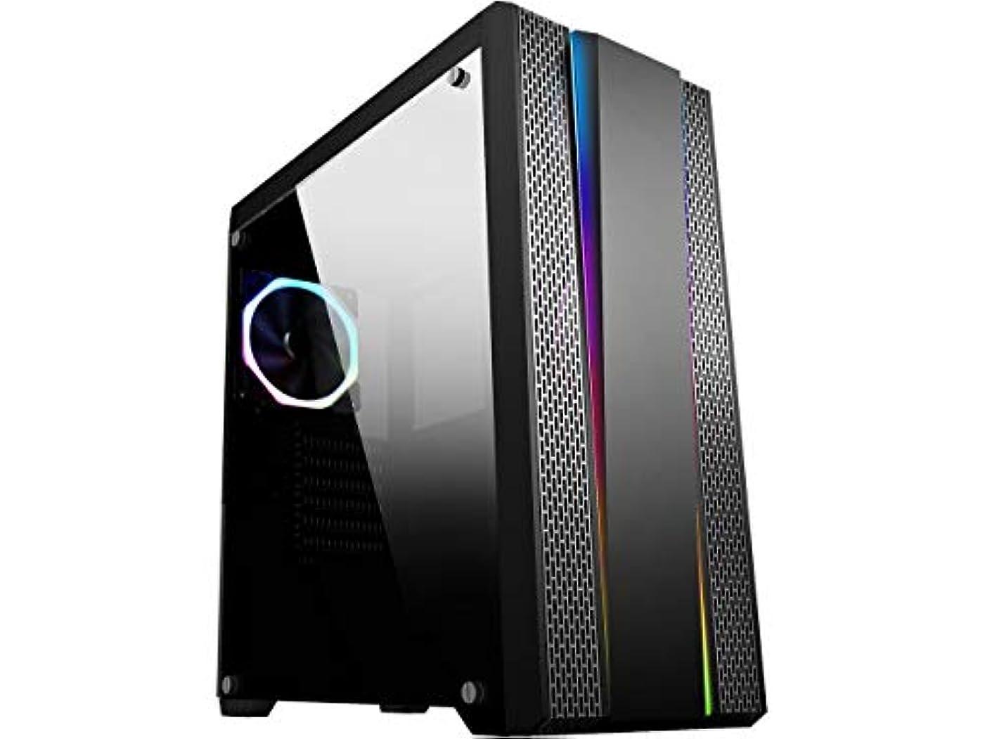 フォーラム自治ターミナルSAMA Proxima-RGB ブラック デュアル USB3.0 スチール/強化ガラス ATX ミッドタワー ゲーミングコンピューターケース 強化ガラスパネル付き 調整可能 RGB ストリップとプリインストール済み 1 x RGB 調整可能 ファン (7色)