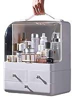 [ジンニュウ] メイクボックス メイク 収納ケース 化粧品入れ 防塵カバー 防水 透明ABS 大容量 取っ手付き 小物入れ 引き出し式 卓上収納 大容量収納ボックス 寝室 浴室 洗面所 ホワイト F