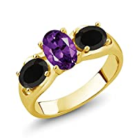 Gem Stone King 1.53カラット 天然 アメジスト 天然 オニキス シルバー925 イエローゴールドコーティング 指輪 リング