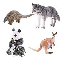 SM SunniMix 4本 パンダ/カンガルー/パンゴリン/オオカミ アニマル 動物園 誕生日 プレゼント 知育玩具 コレクション