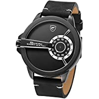 Shark Sport Watch, Leather Band Unique Turntable Dial No Hand Design Men's Analog Quartz XXL Wrist Watch