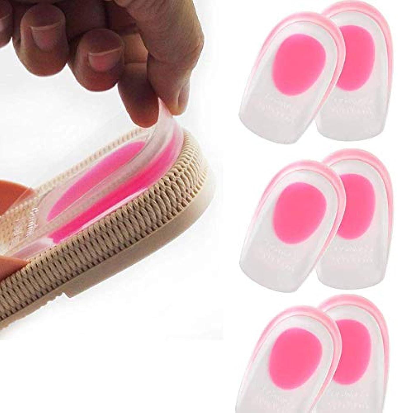 閉塞地上の大胆3ペアシリコーンジェルヒールカップ-整形外科用ジェルヒールパッド、足底筋膜炎、骨棘の痛みの軽減、かかとの痛みの痛み、アキレスの痛みと足のケアのためのヒールリフト靴インソールを挿入します。 (女)