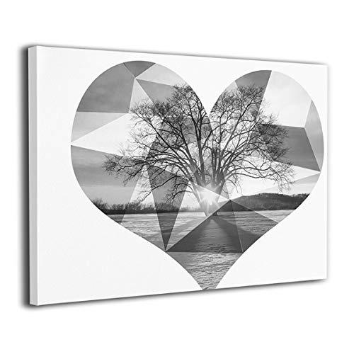 黒と白のピーチハート アートパネル アートフレーム キャンバ...