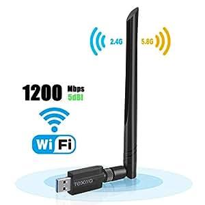 Wifi無線Lan子機5DBi 無線LANアダプタ 1200Mbps USB3.0高速モデル デュアルバンド バイパワー アンテナ wifiアンテナ 802.11ac技術 acアダプタ 360度回転 高速通信 2.4G/300Mbps 5.8G/867Mbps Windows10/8/7/XP/Vista/Mac/Linuxに対応
