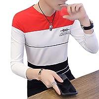 Beeatree メンズスリムロングスリーブVネックコンフォート100%コットンステッチTシャツ Pattern8 S