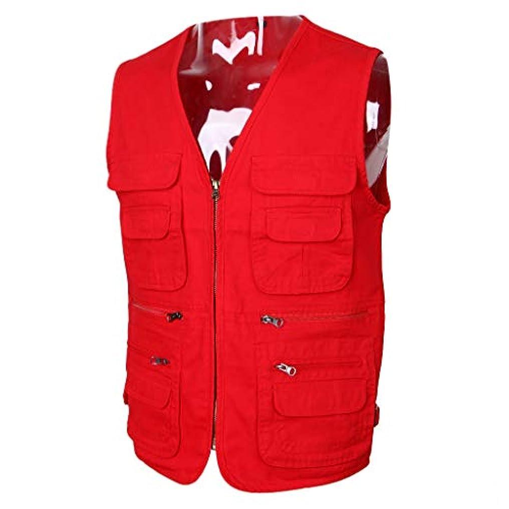 権限を与えるバッグ送金B Blesiya 屋外 作業 釣りベスト ジャケット メンズ 綿製 多機能 マルチポケット 工具収納 赤 全4サイズ