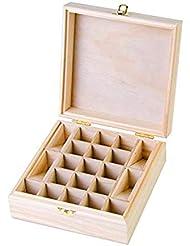 21グリッド木製エッセンシャルオイル収納ボックス 精油収納ケース ナチュラルパインウッド製 手作り 工芸品 5-15ml用 junexi