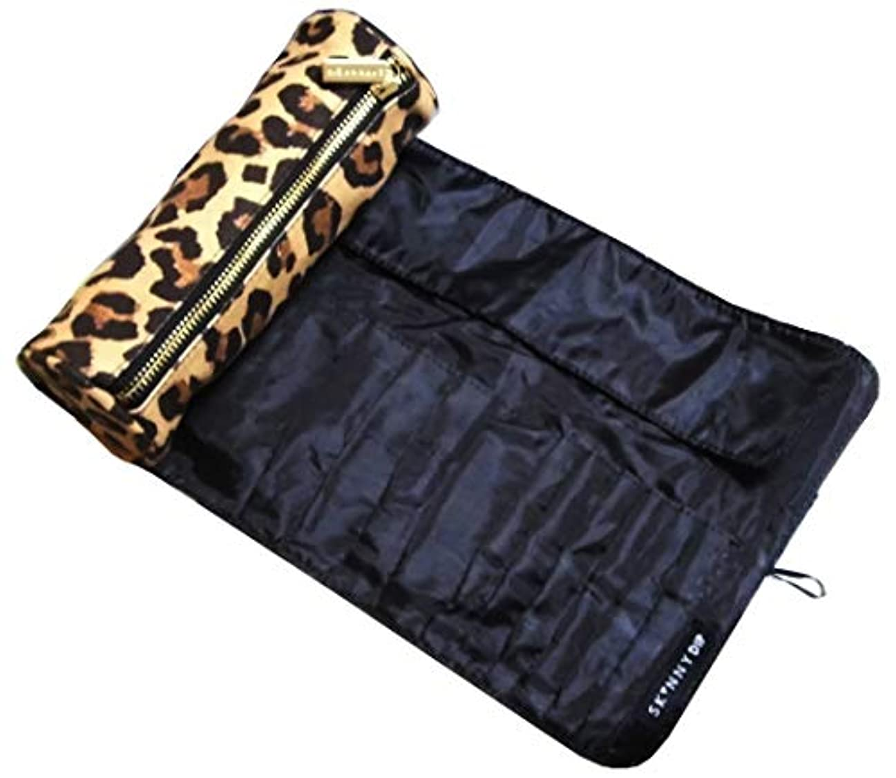 チチカカ湖光沢のある幽霊skinnydip メイクブラシケース ヒョウ柄 筒型 巻き leopard make up roll bag 化粧筆ケース