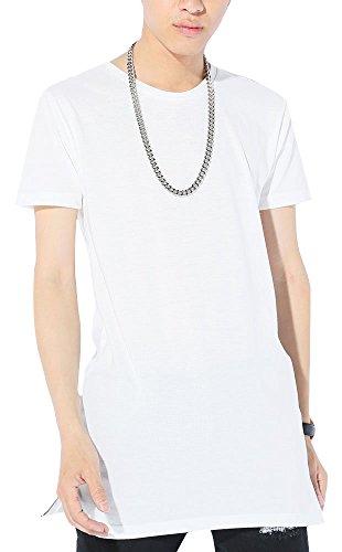 Sホワイト半袖 M (ベストマート)BestMart ストリート系 選べる裾 ラウンド スクエア 半袖 長袖 サイドジップ ロング丈Tシャツ 無地 メンズ クルーネック カットソー ロング丈 Uネック 長そで 半そで 丈長い 丈長めtシャツ ティーシャツ 620009-005-220