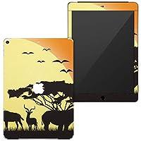 igsticker 第6世代 第5世代 iPad 9.7インチ iPad 6 / 5 2018/2017年 モデル A1893 A1954 A1822 A1823 スキンシール apple アップル アイパッド タブレット tablet シール ステッカー ケース 保護シール 背面 001243 アニマル サファリ 動物 夕日