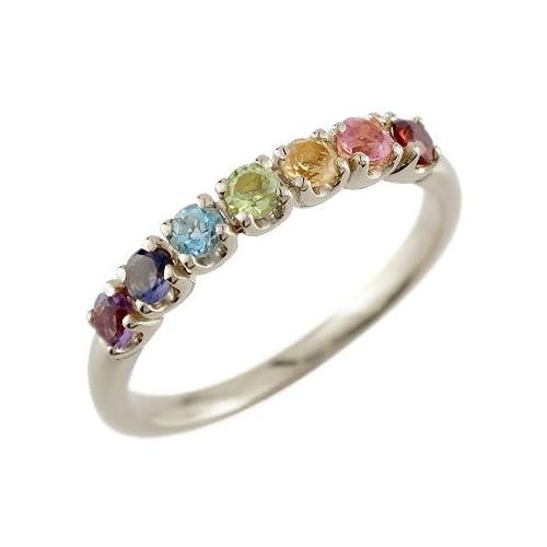 [アトラス] Atrus アミュレットリング マルチカラー リング シルバー925 SV925 指輪 18号 7つの宝石があなたを守る虹色の アミュレット リング お守り ファッションリング