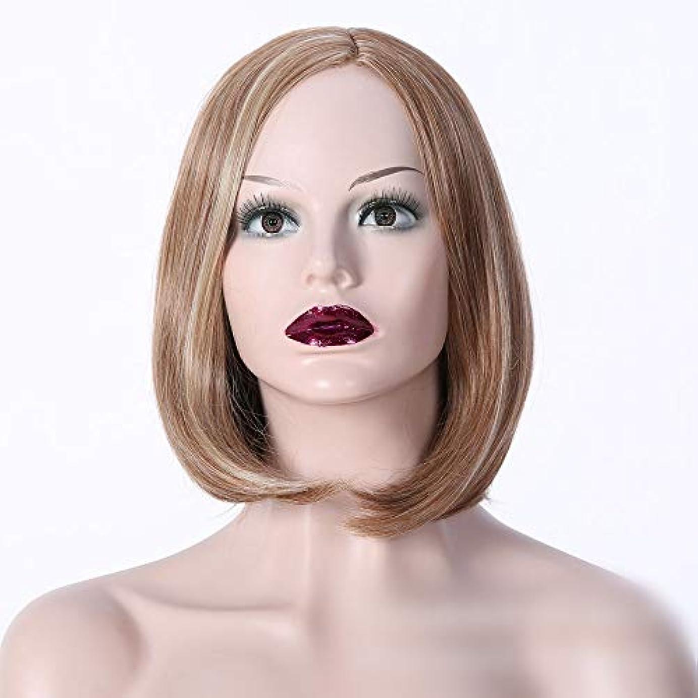 大きさ平衡徴収WASAIO レディースショートカーリーウィッグブロンドショート細いウェーブのかかった髪かつら耐熱性 (色 : Photo color)