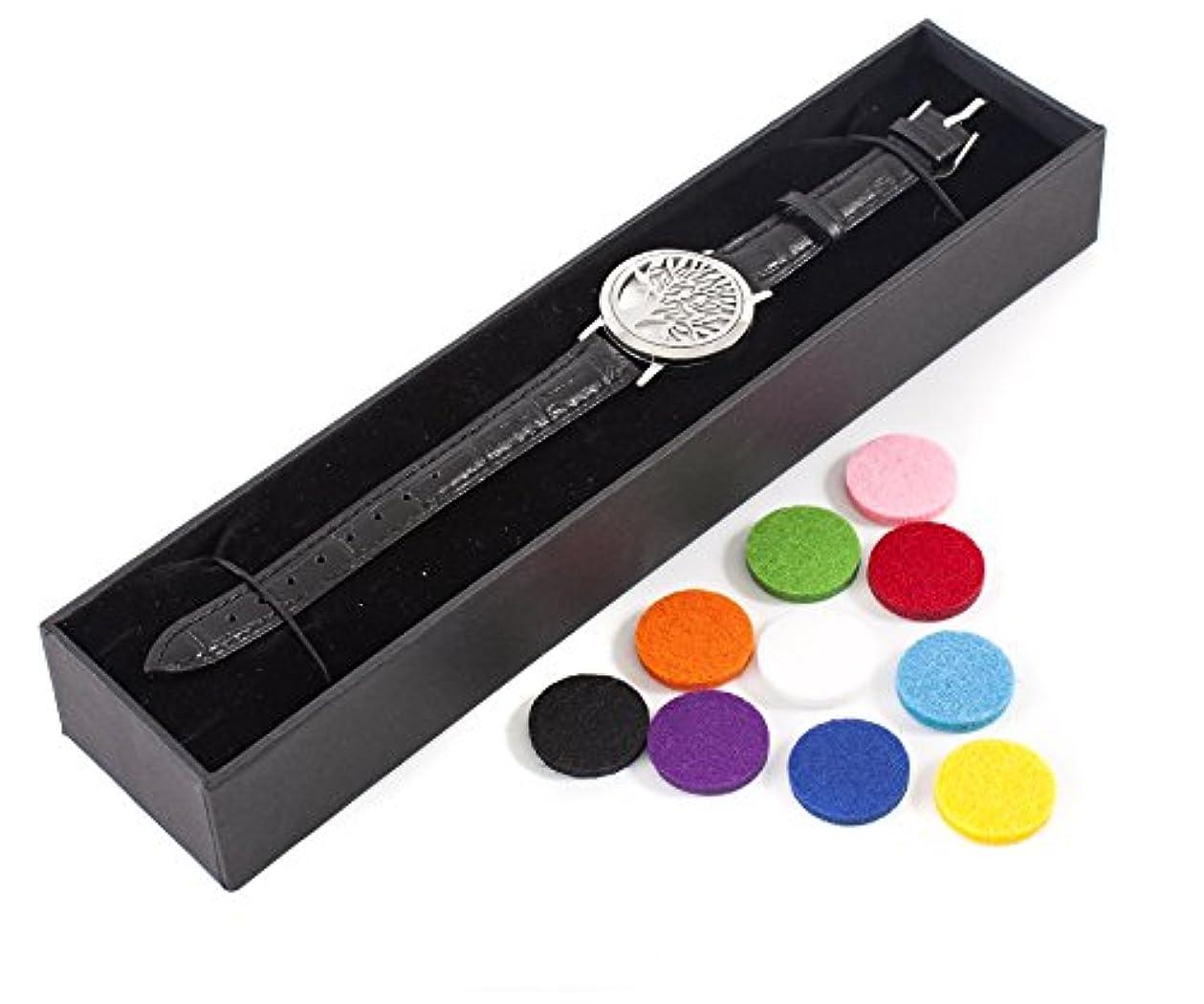 パン嵐が丘商品Mystic Moments | Tree of Life | Aromatherapy Oil Diffuser Bracelet with Adjustable Black Leather Strap