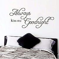 Dtcrzj 常にキス私おやすみ引用ウォールステッカー用リビングルームの寝室の装飾Pvcウォールアートポスターホームキャラクターデカール